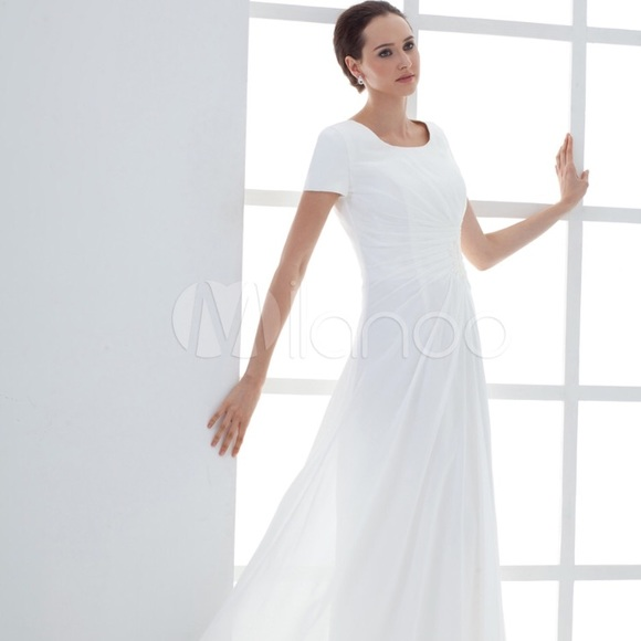 Dresses Milanoo Chiffon White Simple Wedding Dress 6 New Poshmark